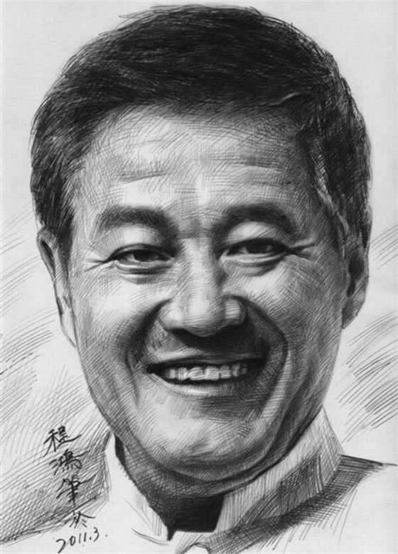 程鸿素描作品:赵本山头像素描