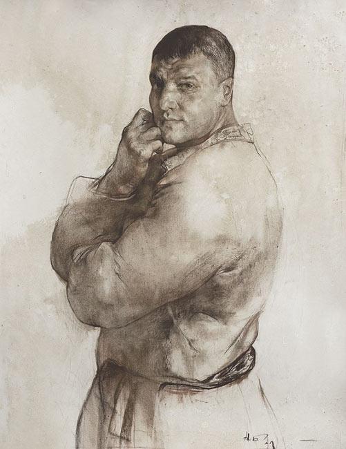 列兵美院素描作品:严肃的中年男人头像素描