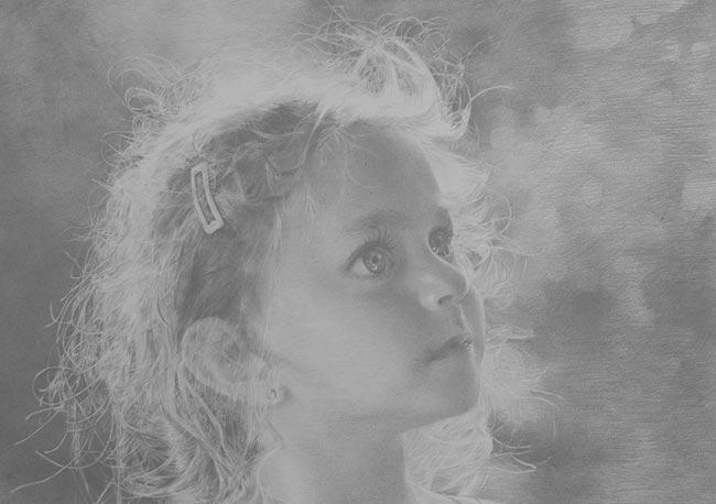 邵占锋素描头像:阳光下的女孩侧面头像素描