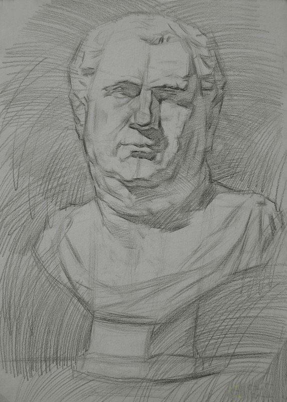 素描过程一:用4b铅笔,轻轻地画出对象的外形,线行轻一点模糊一点,画出图片