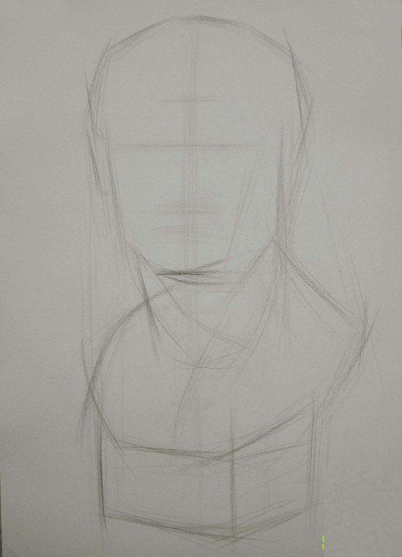 阿格里巴素描步骤一:用4b铅笔轻轻地把整体的外轮廓画出来,线条可以画