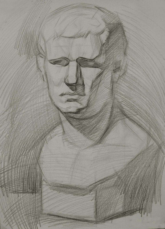 阿格里巴素描步骤三:用5b的铅笔把石膏的暗面区别开来,注意放松.