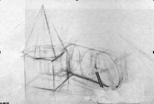 保留起稿时的线条,作为辅助线,逐步地画出物体的形体起伏变化.图片