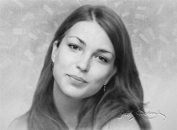 中年妇女头像素描_俄罗斯雅科夫素描作品