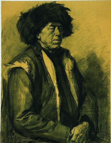 中央美术学院学生素描作品 严肃的老人头像素描