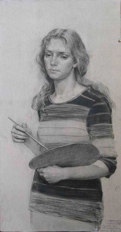 美丽的女孩头像素描(列宾美院学生素描作品)