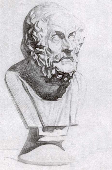 荷马石膏像写生步骤(半侧),素描画网