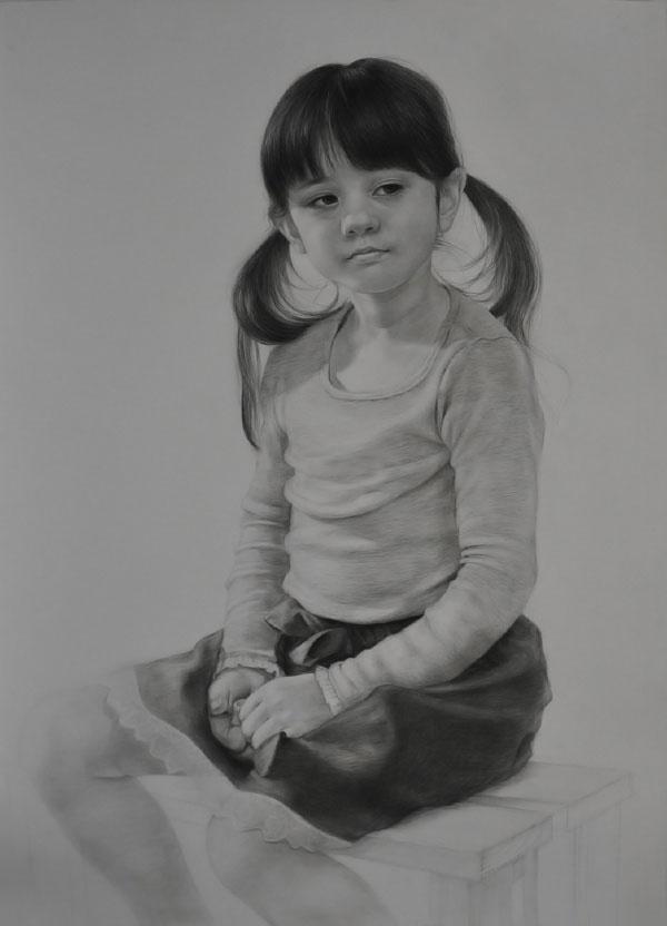 可爱的小女孩头像素描