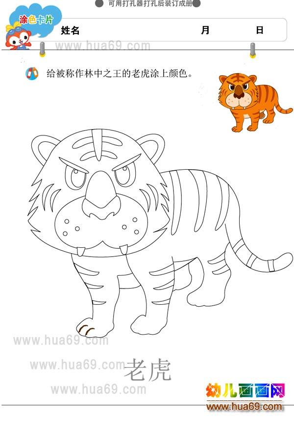 老虎│可打印涂色卡