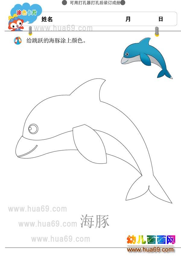 幼儿涂色卡图片:小海豚│可打印涂色卡,画画网