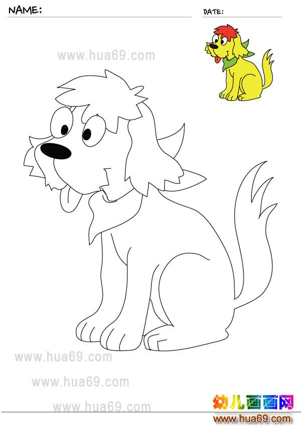 幼儿画画涂色卡:狮子狗│可打印涂色卡