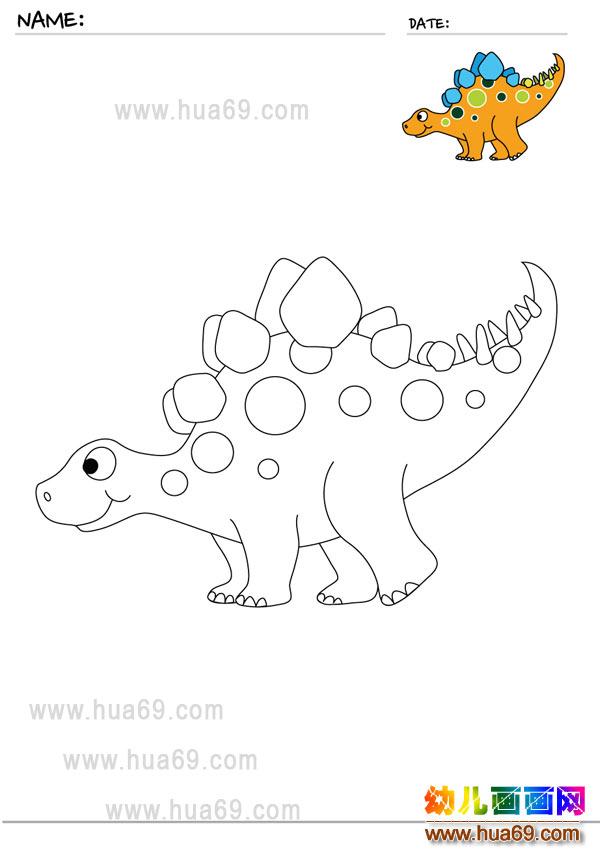 幼儿画画涂色卡:恐龙宝宝│可打印涂色卡