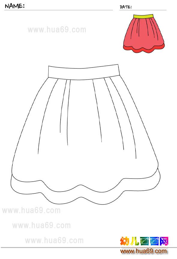 幼儿画画涂色卡:裙子│可打印涂色卡2