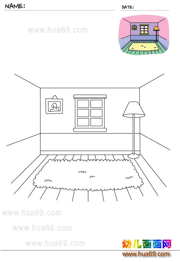 儿童画画涂色卡:客厅装饰│可打印涂色卡