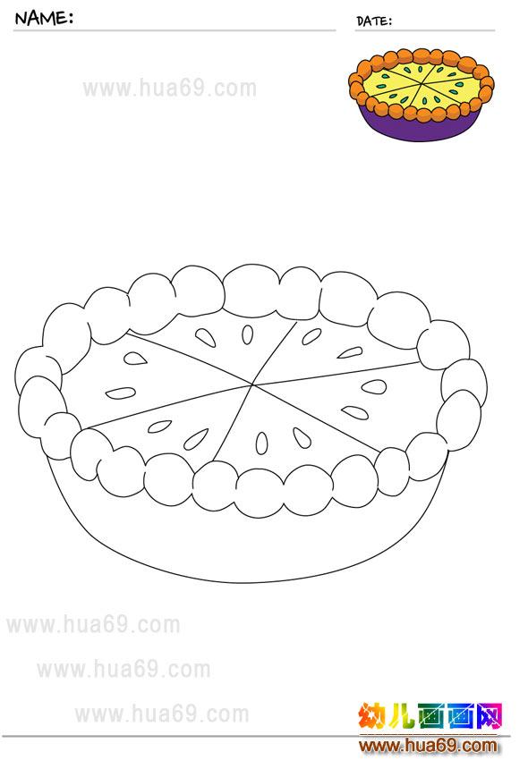 儿童画画涂色卡:可口的蛋糕│可打印涂色卡