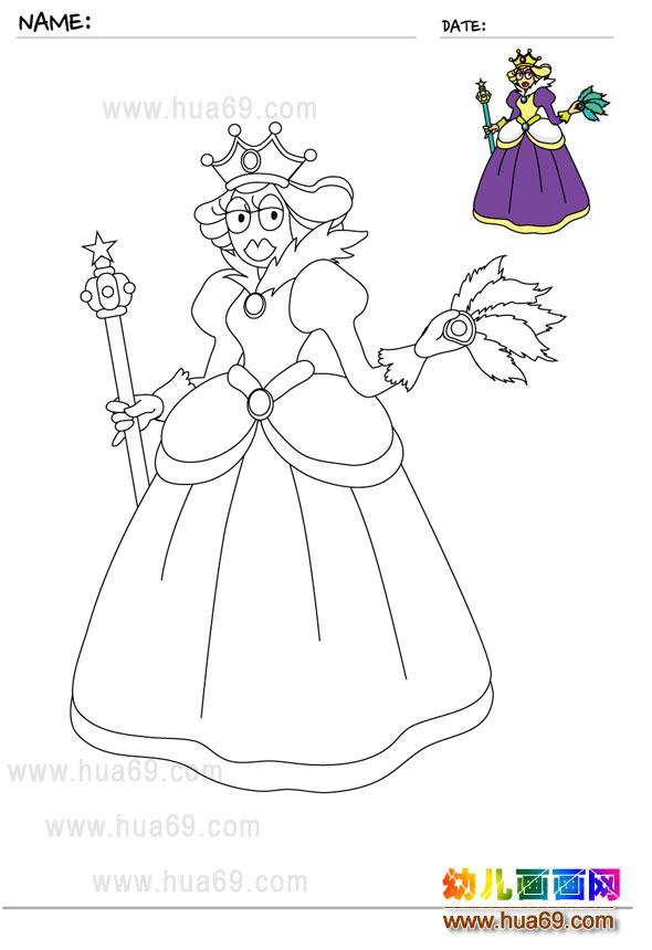 儿童画画涂色卡:皇后│可打印涂色卡