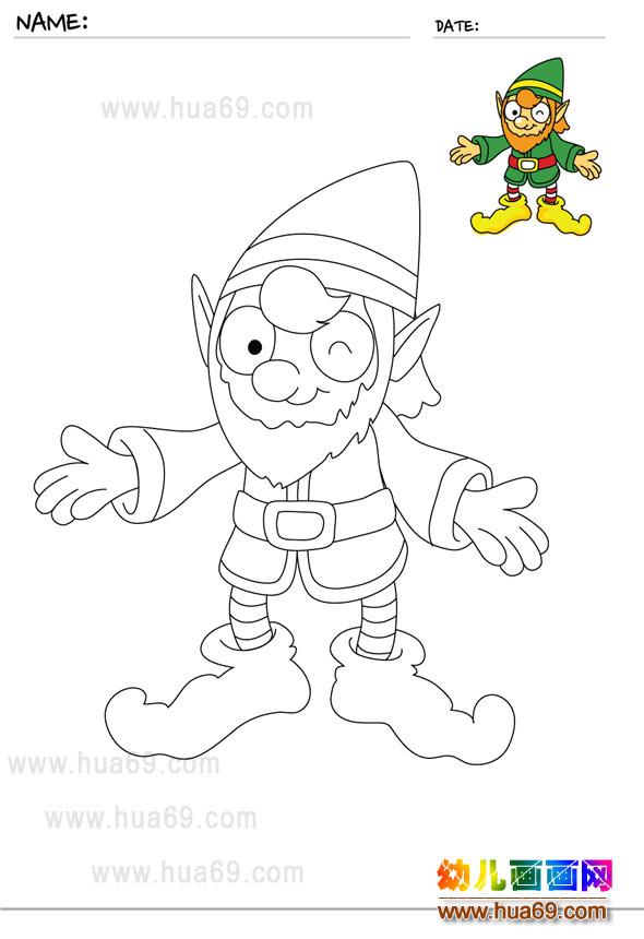 幼儿画画涂色卡:可爱小丑│可打印涂色卡