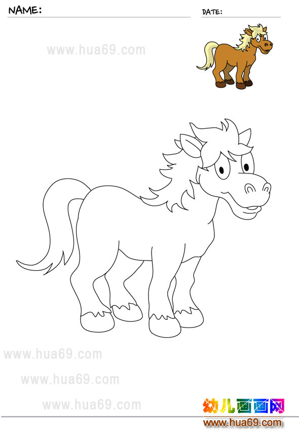 可爱的小马│儿童画画涂色卡