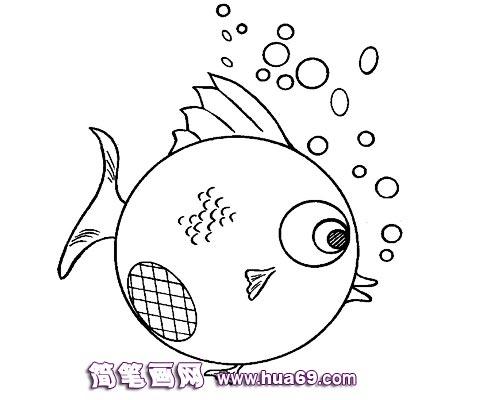 幼儿园简笔画:吐泡泡的小金鱼;; 金鱼简笔画图片大全金鱼图片简笔