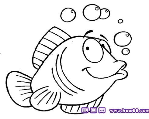 吐泡泡的小鱼简笔画3