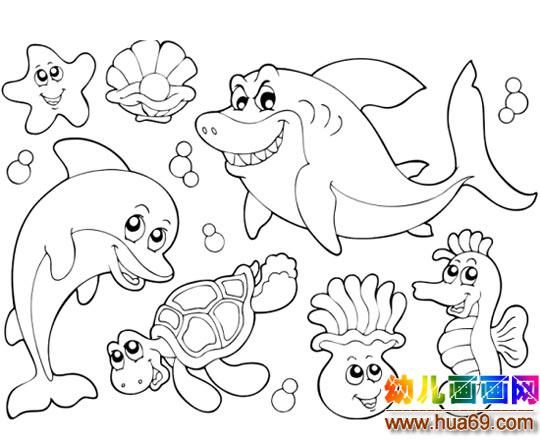 各种海底动物聚会的简笔画1