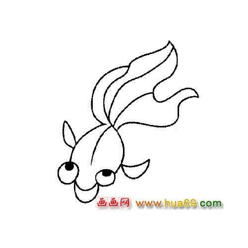 大海金鱼简笔画
