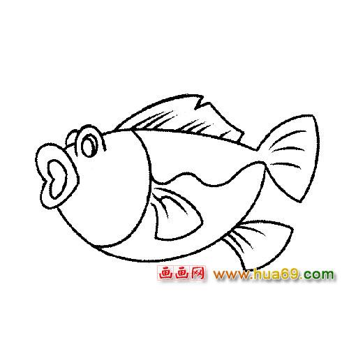 鱼类简笔画 张大嘴巴的鱼