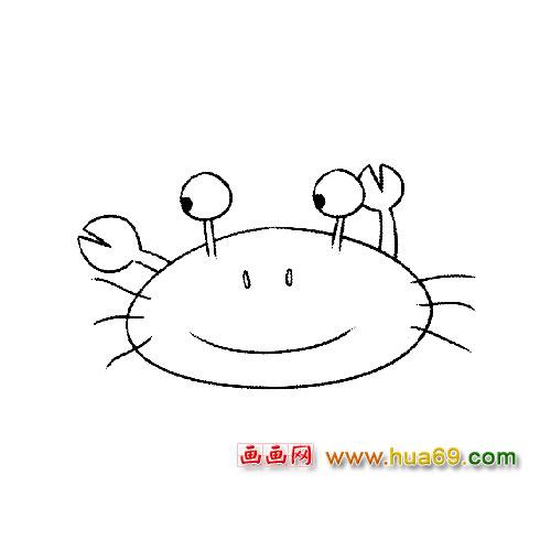 搞怪的螃蟹简笔画