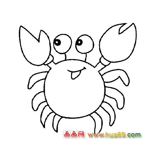 彩色小螃蟹简笔画画法,挥动着一对大钳子,不显威风反而更添可爱呢!