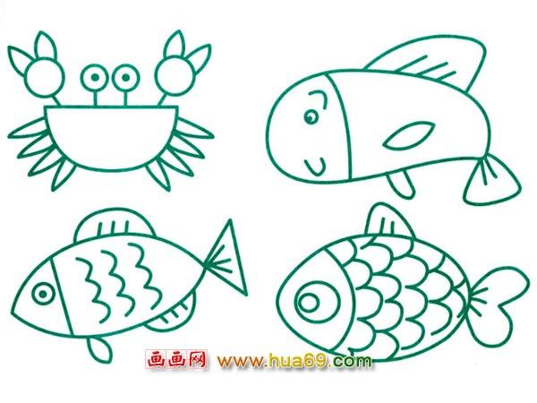螃蟹简笔画 文明出游简笔画