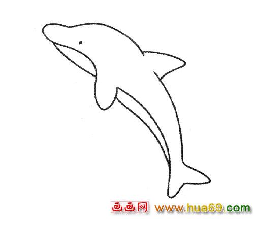一只跳跃的海豚(简笔画)