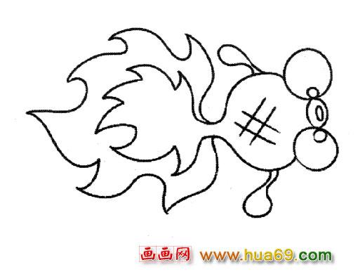 儿童简笔画 小金鱼