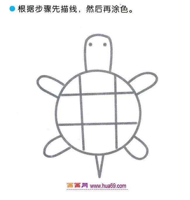 幼儿简笔画:四步画海龟图解教程