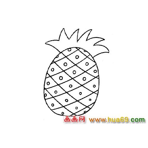 可口的菠萝简笔画3,画画网