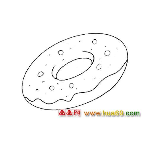 面包简笔画:甜甜圈1