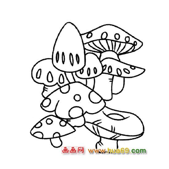 蘑菇带颜色的简笔画; 《人@群》中的简笔画;