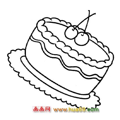 蛋糕简笔画图片大全; 漂亮的大蛋糕简笔画4