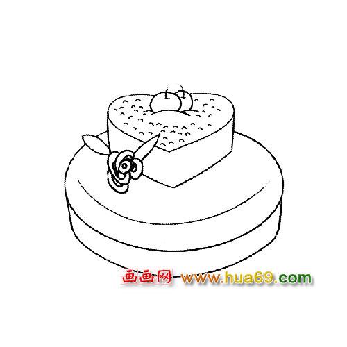 簡筆畫【愛心蛋糕】1