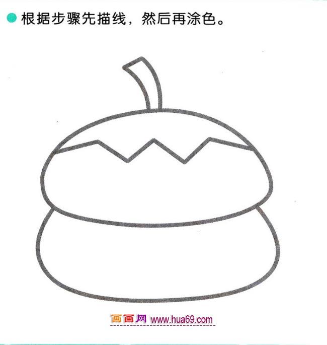 儿童简笔画:四步画好吃的柿子教程,画画网