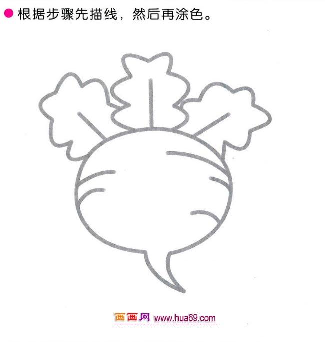 儿童简笔画:四步画圆圆的大萝卜图解教程