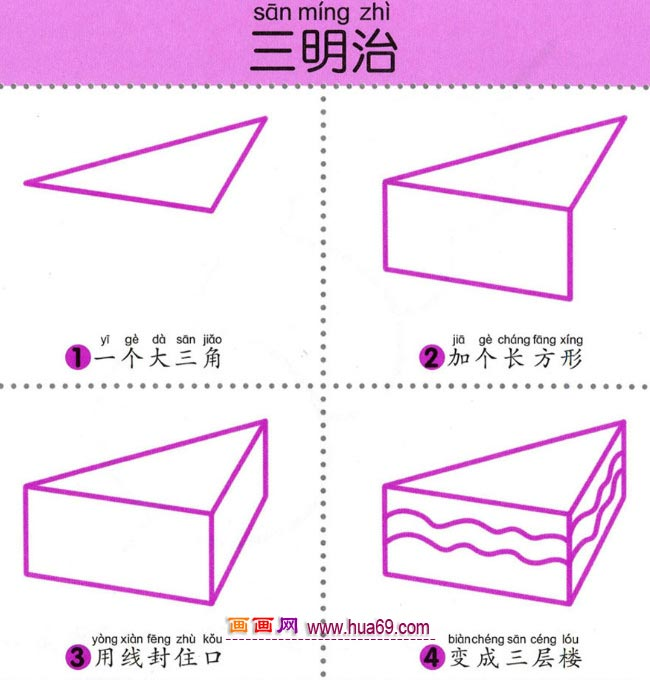 幼儿简笔画:四步画一块三明治的图解教程