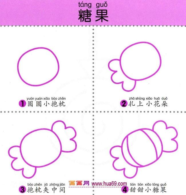 幼儿简笔画:四步画甜甜的糖果图解教程